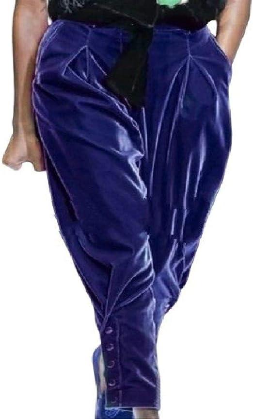 Women Velvet Pure Color Fashion High Waist Buttons Harem Long Pants