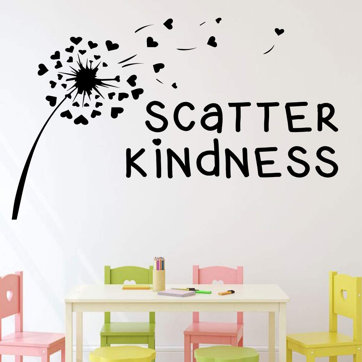 Wall decal for kitchen entryway or mudroom scatter kindness vinyl lettering with hart shaped dandelion silhouette home décor fun gift a variety of