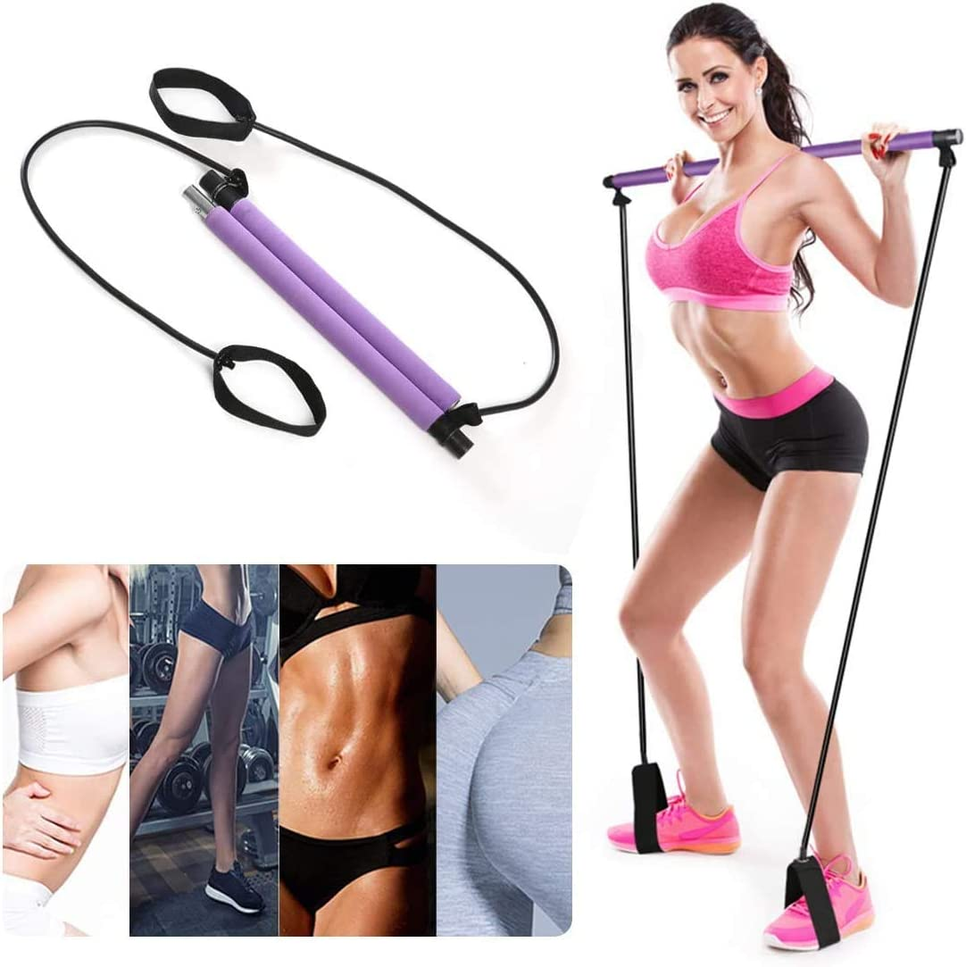 Stretch Twisting Sit-Up Bar Resistance Band LLARIMIN Exercise Band Pilates Bar Kit Yoga Resistance Bands Portable Pilates Bar Stick with Foot Loop for Yoga Sculpt