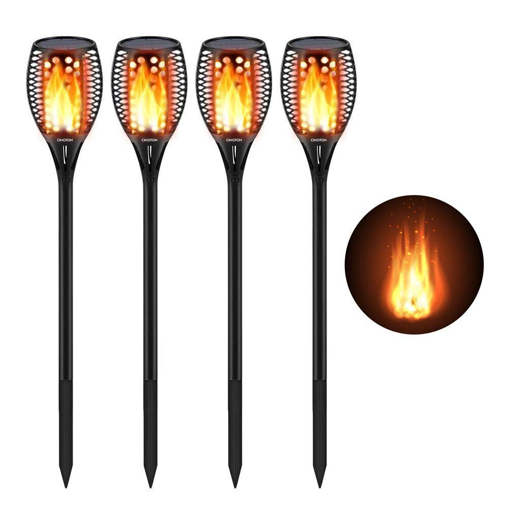 CINOTON Solar Torch Light with Flickering Flame, Solar Path Torch Light Dancing Flame 96 LED Waterproof Dusk to Dawn Solar Garden Lights Outdoor Landscape Decorations, 4 Pack by CINOTON