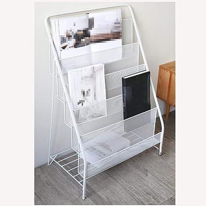 OSHA Nordic Simple Modern Iron Art Magazine Rack Shelf Landing Small Bookshelf
