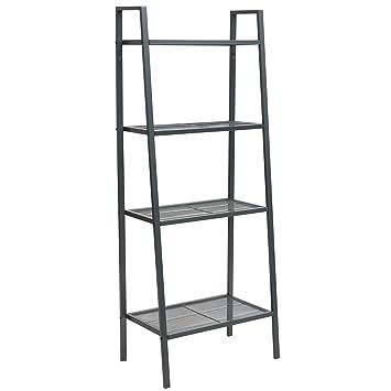 DOEWORKS Storage Shelf 4 Tier Plant Shelf, Freestanding Open Bookcase  Shelving, Ladder Style