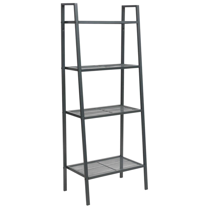 DOEWORKS Storage Shelf 4 Tier Plant Shelf, Freestanding Open Bookcase Shelving, Ladder-Style Flower Rack Leaning Shelf, Gray by DOEWORKS