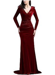 YuNuo Prom Dress Long Sleeve Velvet Mermaid Formal Evening Dresses Long Prom Gowns V-Neck