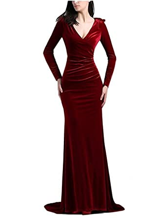 YuNuo Prom Dress Long Sleeve Velvet Mermaid Formal Evening Dresses Long Prom Gowns V-Neck