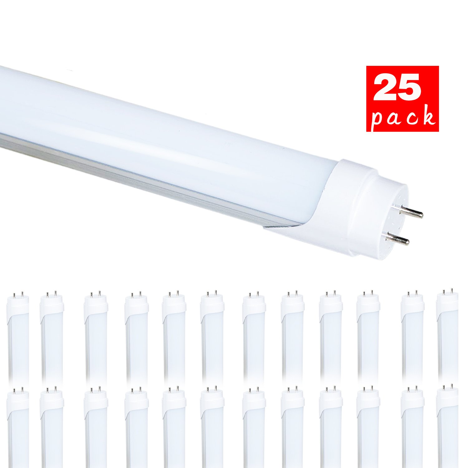 25 Pack of WYZM 20Watt T8 LED Bulbs 4 Foot,40W Fluorescent Tube Replacement,5500K Daylight White,Double End Power (25PACK 4FT 5500K)