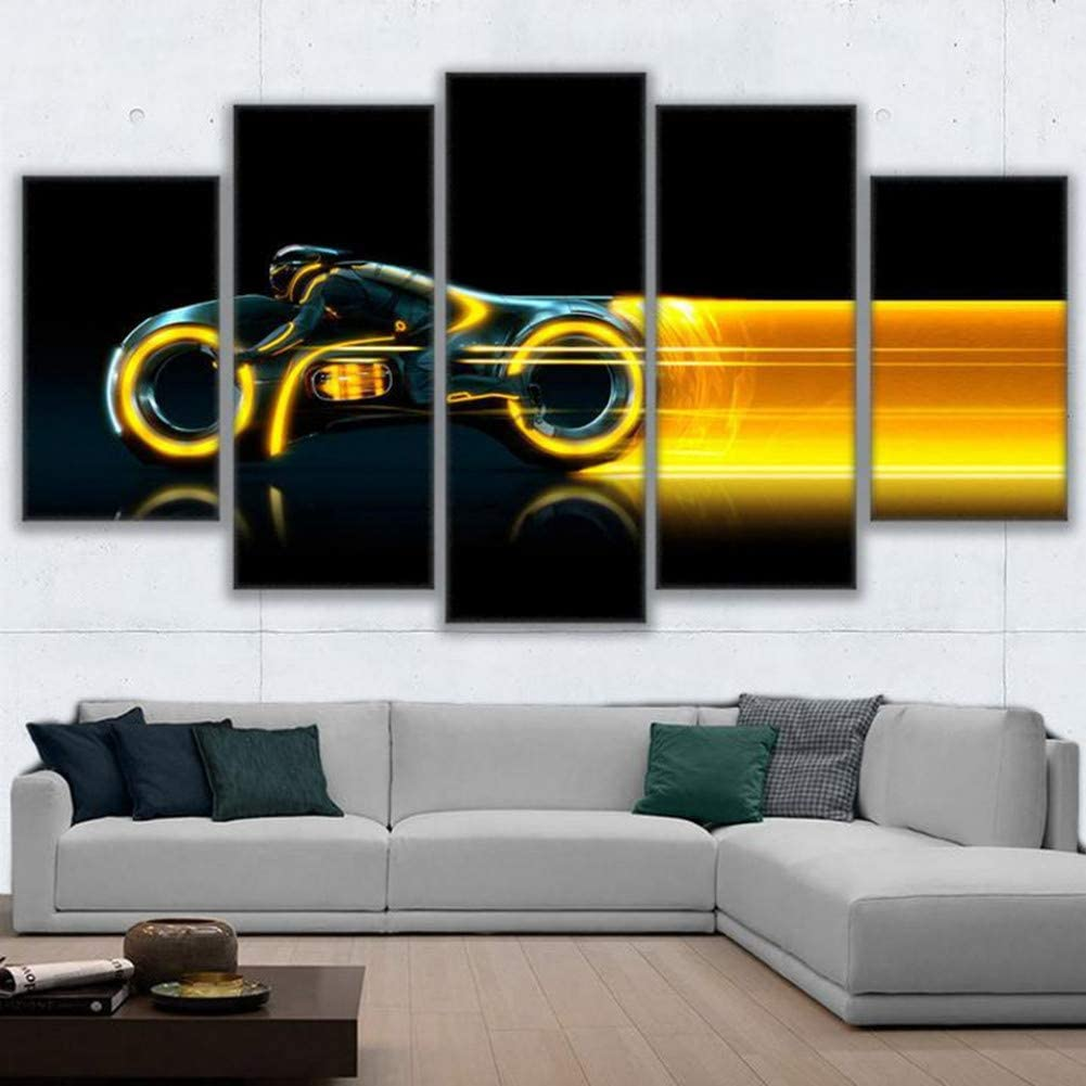WFUBY Five Paintings HD Prints Canvas Wall Art Poster Living Room Decor 5 Pieces Tron Large Modular Motorcycle Movie Pictures-30x40x2 30x60x2 30x80cm no Frame