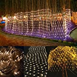 BESTFACE LED Clear Net Lights Fairy Led String Lights Outdoor Party Christmas Xmas Wedding Home Garden Decorations 8 Modes for Flashing 3m x 2m 200 LED lights(Warm White)