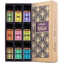 Natrogix Bliss Essential Oils - Top 9 Therapeutic Grade 100% Pure Essential Oil Set (Tea Tree, Lavender, Eucalyptus, Frankincense, Lemongrass, Lemon, Rosemary, Orange, Peppermint) w/Free E-Book