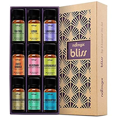 Natrogix Bliss Essential Oils – Top 9 Therapeutic Grade 100% Pure Essential Oil Set (Tea Tree, Lavender, Eucalyptus, Frankincense, Lemongrass, Lemon, Rosemary, Orange, Peppermint) w/Free E-Book 61VUUNbBKBL