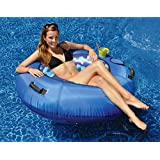 "48"" Blue Camouflage Sumo-Sized Inflatable Water or Swimming Pool Sport Tube with Cup Holder"