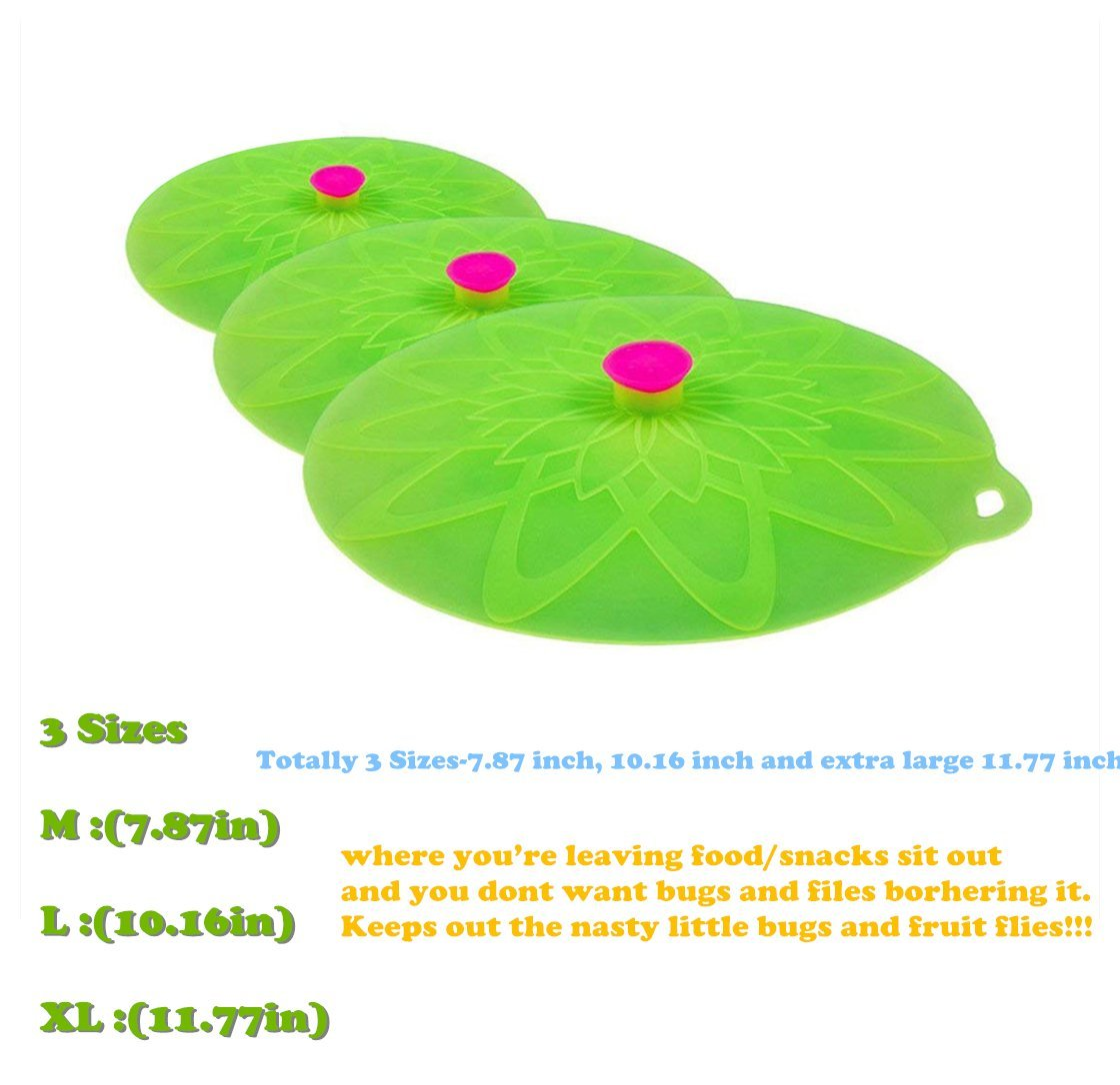 Kuke Silicone Suction Lids Set of 3 Silicone Bowl Lids Reusable Suction Seal Covers for Microwaves Bowls Pots Cups Food Cover (Green) by Kuke (Image #2)