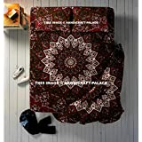 Reversible Duvet Cover Doona Cover Quilt Cover With Pillow Case, Cotton Handmade Duevt Set Bedsheet Tapestry Wall Hanging Star Mandala Queen Size 4 PC Set (Duvet Cover,Bed Sheet & Pillow Covers)