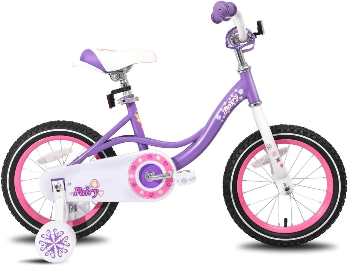 JOYSTAR 12 14 16 Inch Kids Bike with Training Wheels for 2-7 Years Old Girls 2 9 – 4 5 Tall, Toddler Bike with 85 Assembled, Blue, Pink, Purple