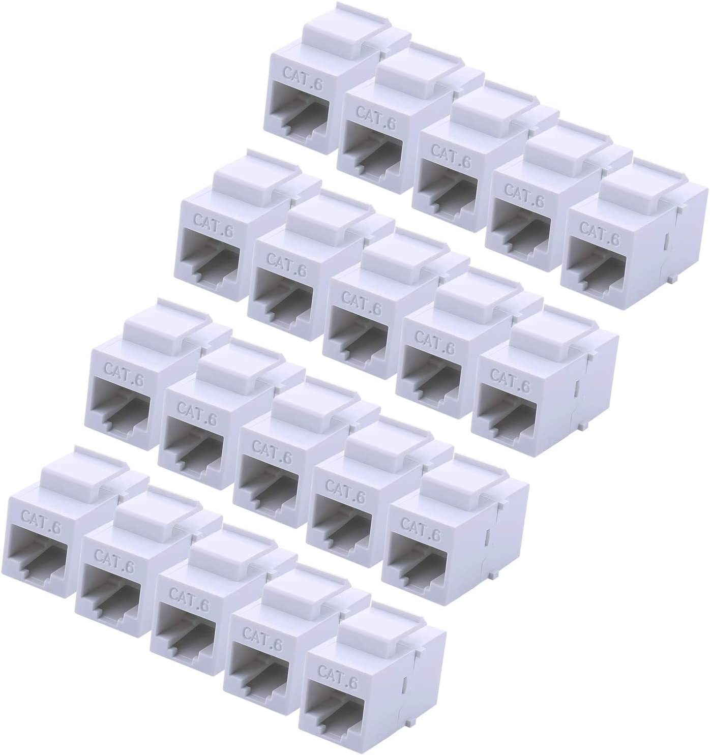 RJ45 Keystone Coupler - 20Pack iGreely Cat6 Cat5e Cat5 Compatible 8P8C Ethernet Network Jack Insert Snap in Adapter Connector Port Inline Coupler for Wall Plate Outlet Panel-White