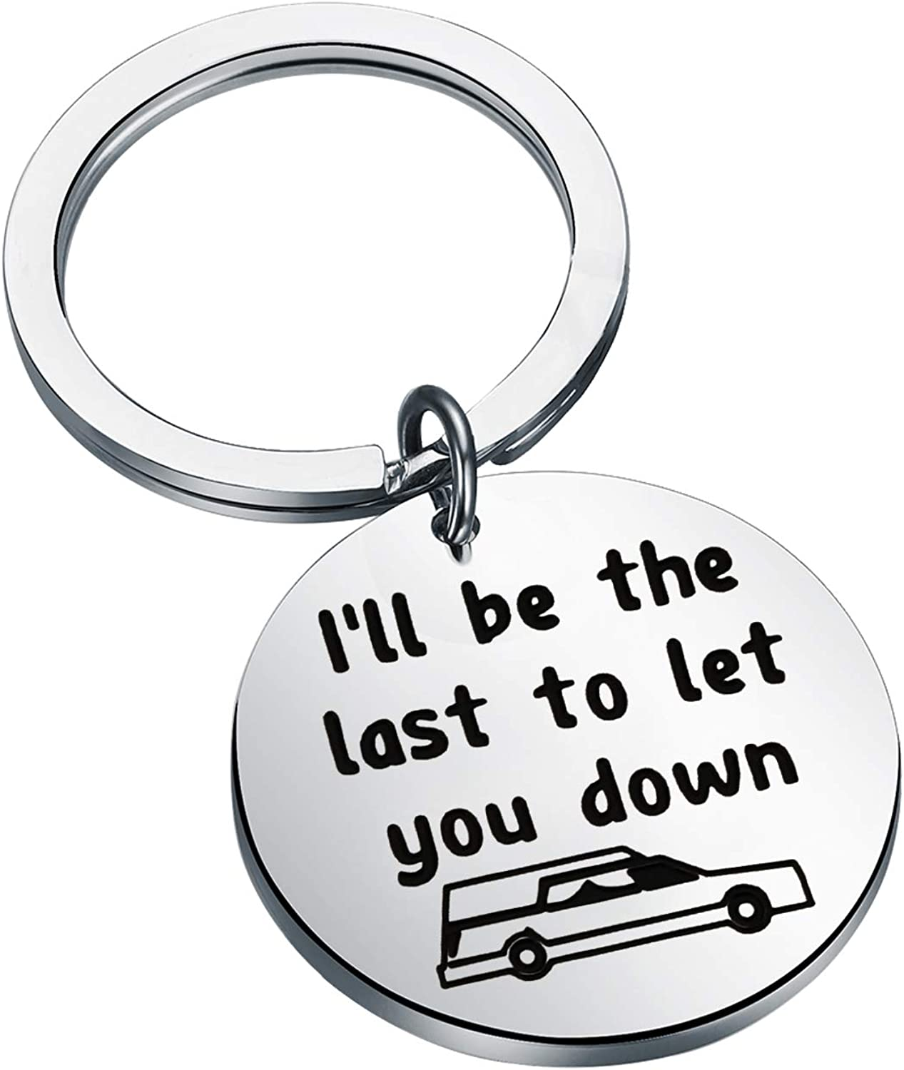BAUNA Funeral Director Keychain I'll Be The Last to Let You Down Last Mortician Gift Dark Humor Jewelry Gift for Mortician Friend