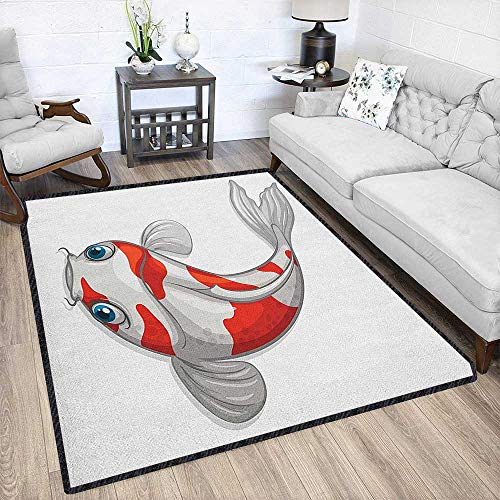 Fish Fashionable and Affordable Rugs,Grey and Red Koi Displayed in Dipping Motion Abstract Illustration of Aquarium Textured Geometric Design Pale Grey Red Blue 79