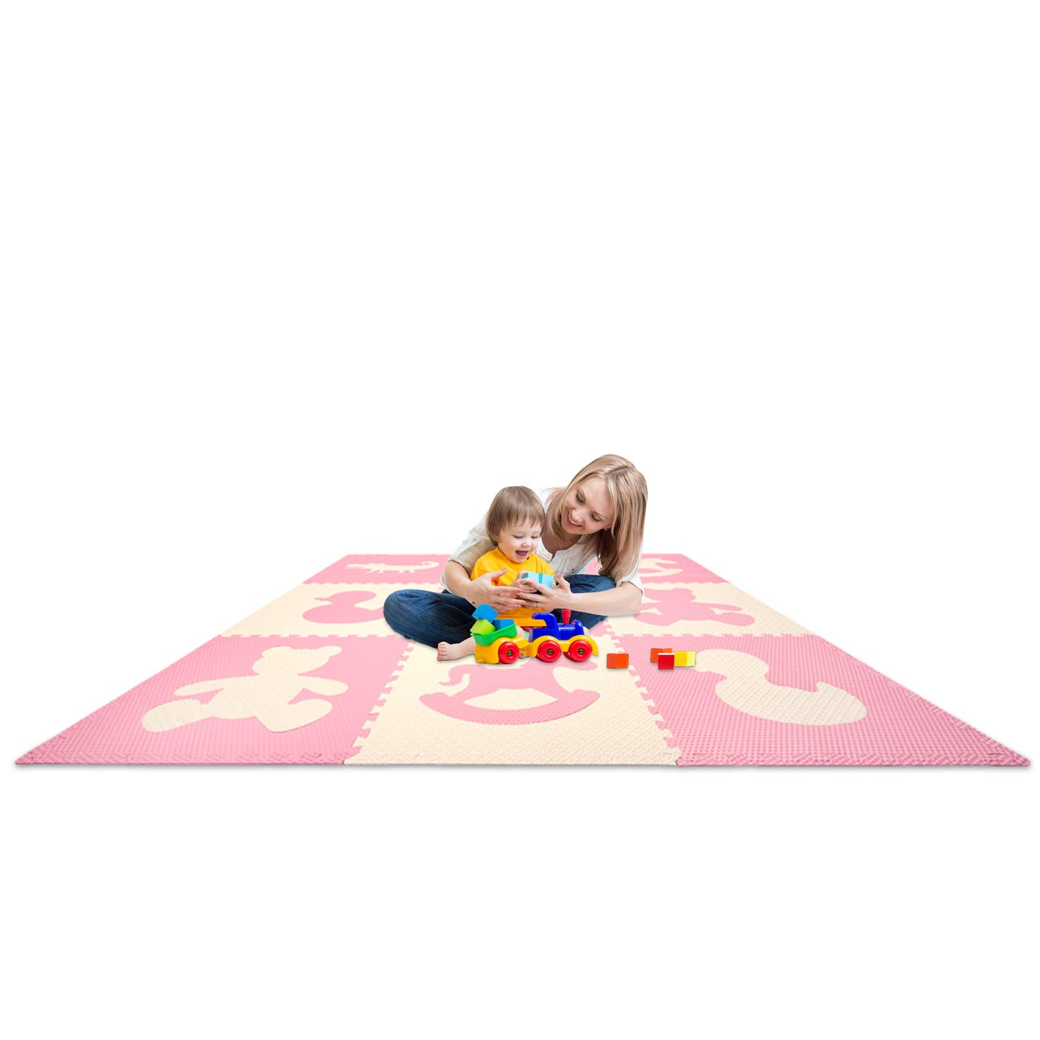 Kids Puzzle Exercise Play Mat with Textures Borders Jumbo Size 73 x 73 Large Floor Tiles