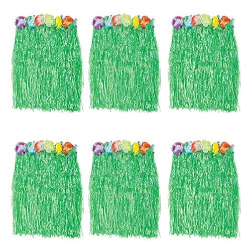 Generic Kid's Flowered Green Luau Hula Skirts Pack of 6