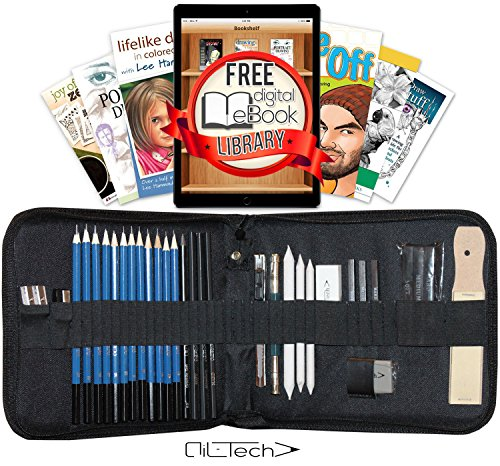 Sketching and Drawing Pencils Professional Art Set 33 Pieces Essential Graphite Charcoal Tool Kit With Case for Artist (Handwriting Kit)
