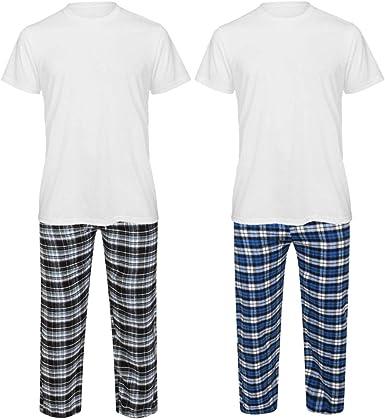Conjunto de pijama de franela de manga corta para hombre con pantalones de descanso, pijama de pijama de regalo