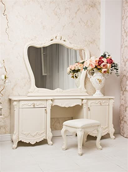 Laeacco 3x5ft Fancy Romantic Dressing Room Backdrop White European Toilet  Table Rose Flowers Damask Wallpaper Interior
