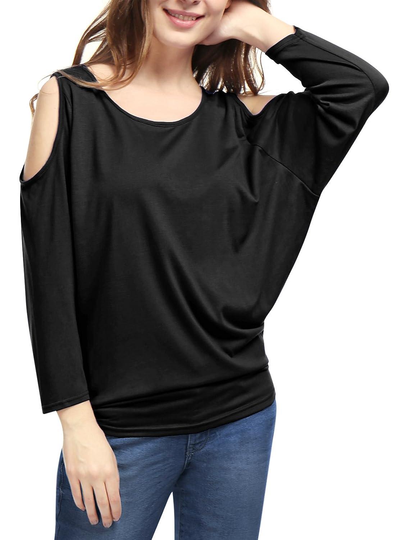Allegra K Women's Scoop Neck Cut Out Shoulder Loose Batwing Top