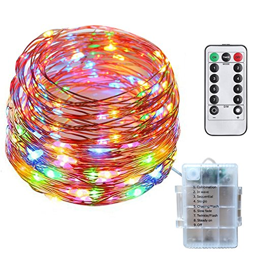 Tecland 8 Modes 33FT 100 LED Copper Wire String Light, Battery Operated Waterproof Rope Lights for Bedroom, Christmas tree and more.(Multi color)