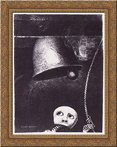 (A funeral mask tolls bell 20x24 Gold Ornate Wood Framed Canvas Art by Redon, Odilon)