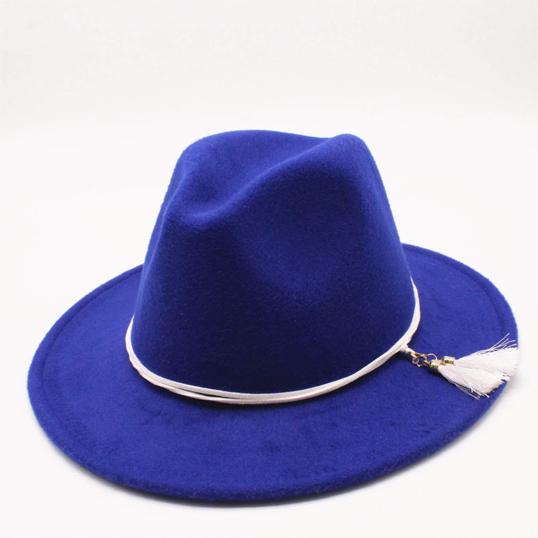 MingDe Sports Wool Women Men Felt Fedora Hat with Tassel Ribbon Elegant Lady Autumn Jazz Church Godfather Sombrero Caps