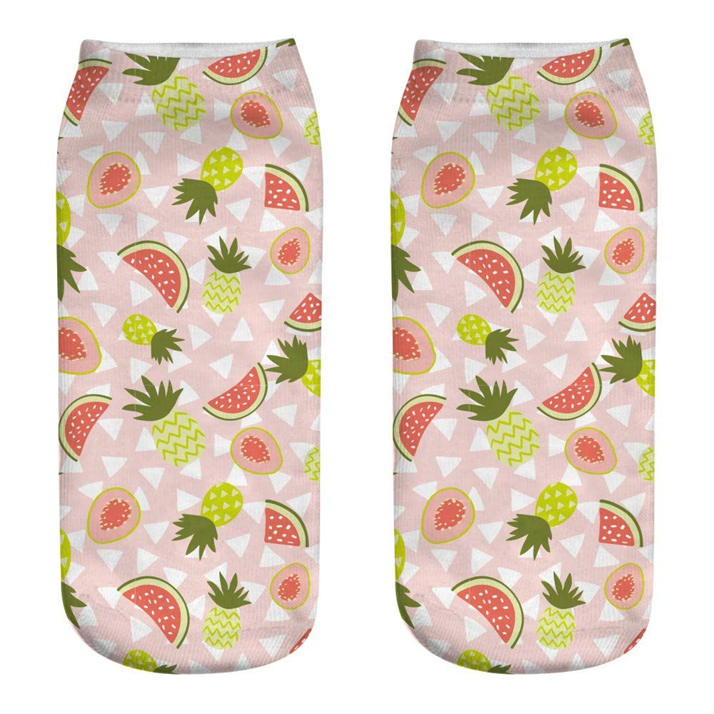 B Wassermelone Ananas SO-buts 1Pair Damen Baumwollsocken ♪ Cute Fruit Sportsocken ♪ Sweaty Feet Socken ♪ 3D Print Fashion Socken