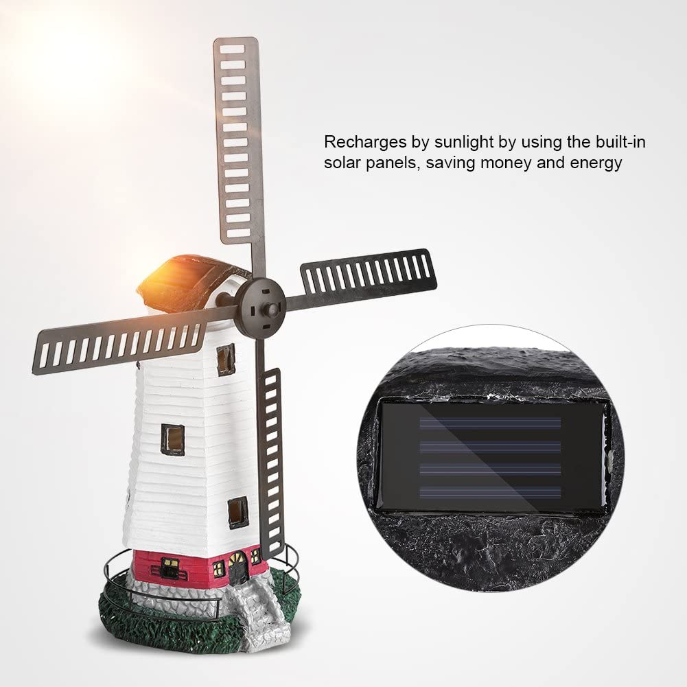 Solar Powered Light Up Traditional Garden Patio Windmill Solar Windmill FAST DEL