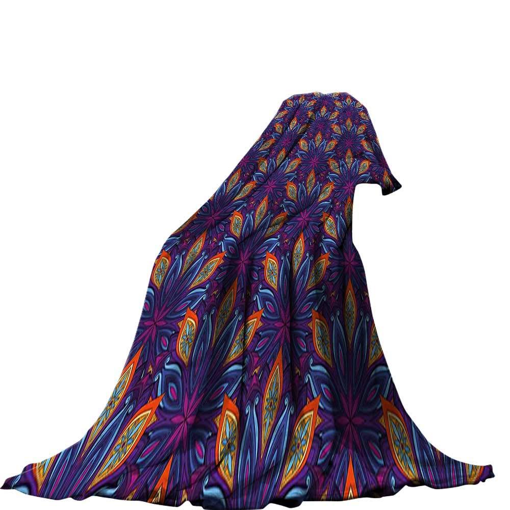 QINYAN-Home スローブランケット (50インチ x 30インチ ファッション 暖かい 心地よい柔らかい ソファ ベッドブランケット 曼荼羅 手描き エスニック インディアン コスモス シンボル スピリチュアル トラディショナル 神聖な花柄 ブラック ホワイト 90