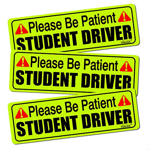 GAMPRO Set of 3 Magnetic Student Driver Sign Bumper Sticker,Highly Reflective Vehicle Car Safety Sign for New Drivers with Red Sign Large Bold Visible Text and Highly Reflective Material