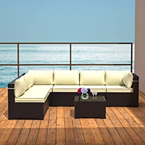 ALAULM 7 Piece Outdoor Patio Furniture Set Modular Rattan Sectional Sofa Set All Weather Deck Couch PE Wicker Backyard Patio Conversation Chair with Coffee Table & Thick Cream Cushions (Black/Cream)