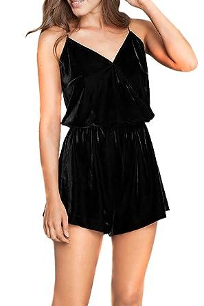 Rokiney Women s Sexy Velvet V Neck Waisted Beach Shorts Cami Jumpsuits S  Black 95a2f5bd3fa9