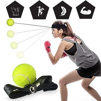 STRIR Reflejo de Boxeo Ball Fight Ball Reflex en Cadena con Diadema para Fight MMA Training ...