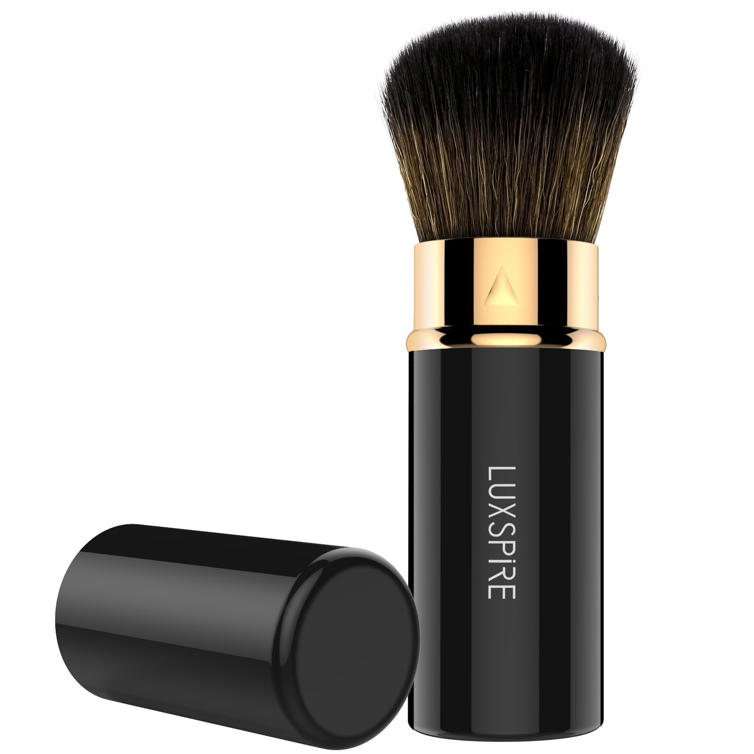 Luxspire Retractable Makeup Blush Brushes, Professional Single Handle Kabuki Brush Soft Face Mineral Powder Foundation Blush Brush Cosmetics Make Up Tool, Black & Rose Gold