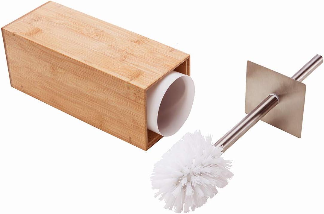 Badzubehor Textilien Elegant Bathroom Accessory Bamboo Square Wooden Toilet Brush Holder Set New Mobel Wohnen Enterthesource Com