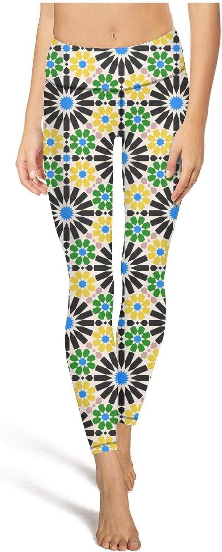 Yoga Capri Leggings for Womens Byzantine Moroccan mosaico islamico Floral Green Sport Workout Running Legging Tight Pants
