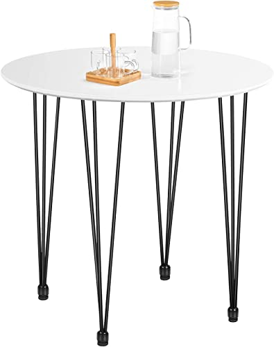 Kealive Dining Table Round Wood White Coffee Table Modern Style MDF Tabletop and Metal Legs Compact Size