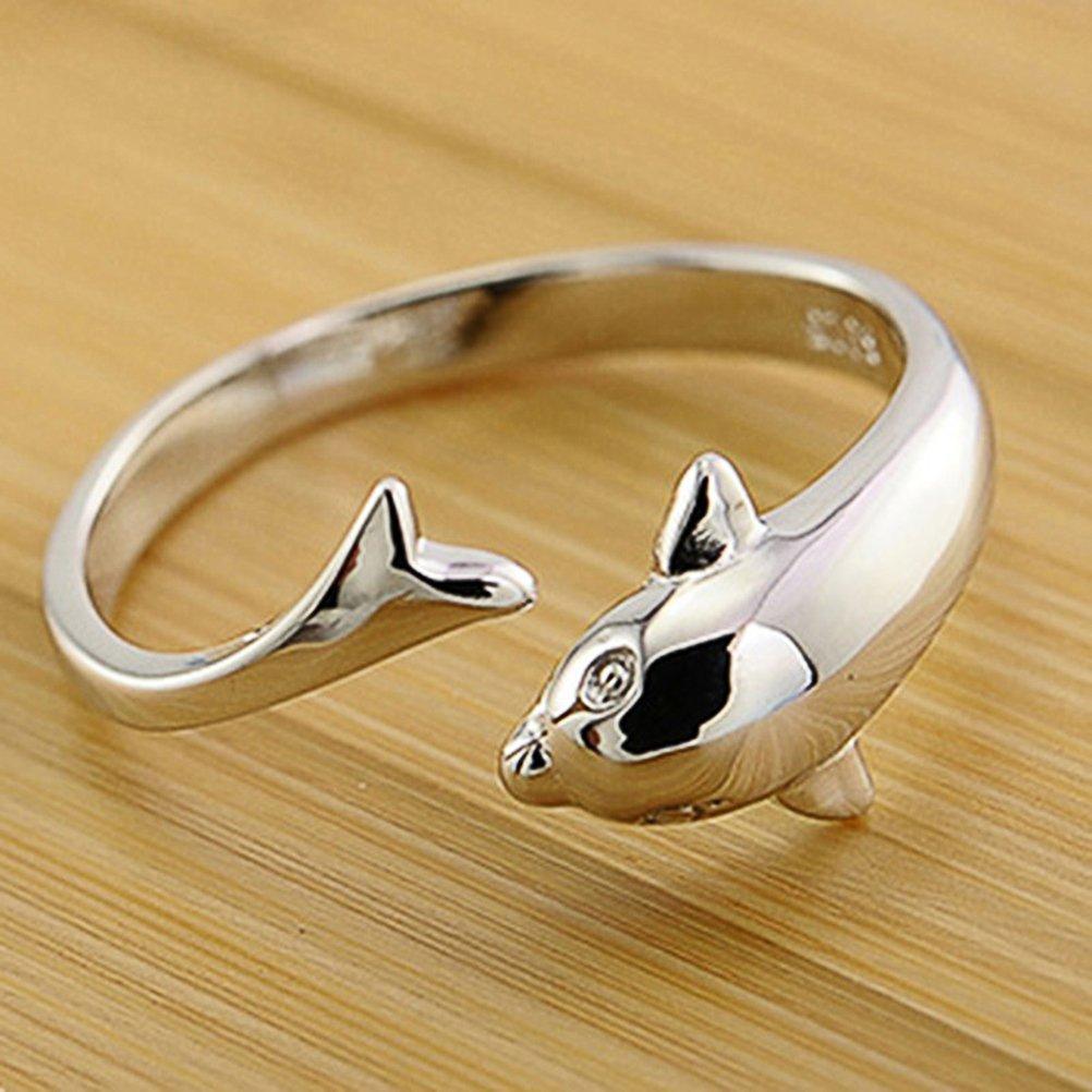 Emorias 1/pcs Lovely Dolphin Forme Bague pour femme Mode Superbe Bague ouverte Bijoux Accessoires Bague Peut /être r/églable Amant Cadeau