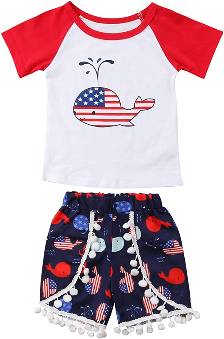 3PCS Toddler Infant Baby Girls Wild Child t Shirt Tops+Shorts Print Outfits Set