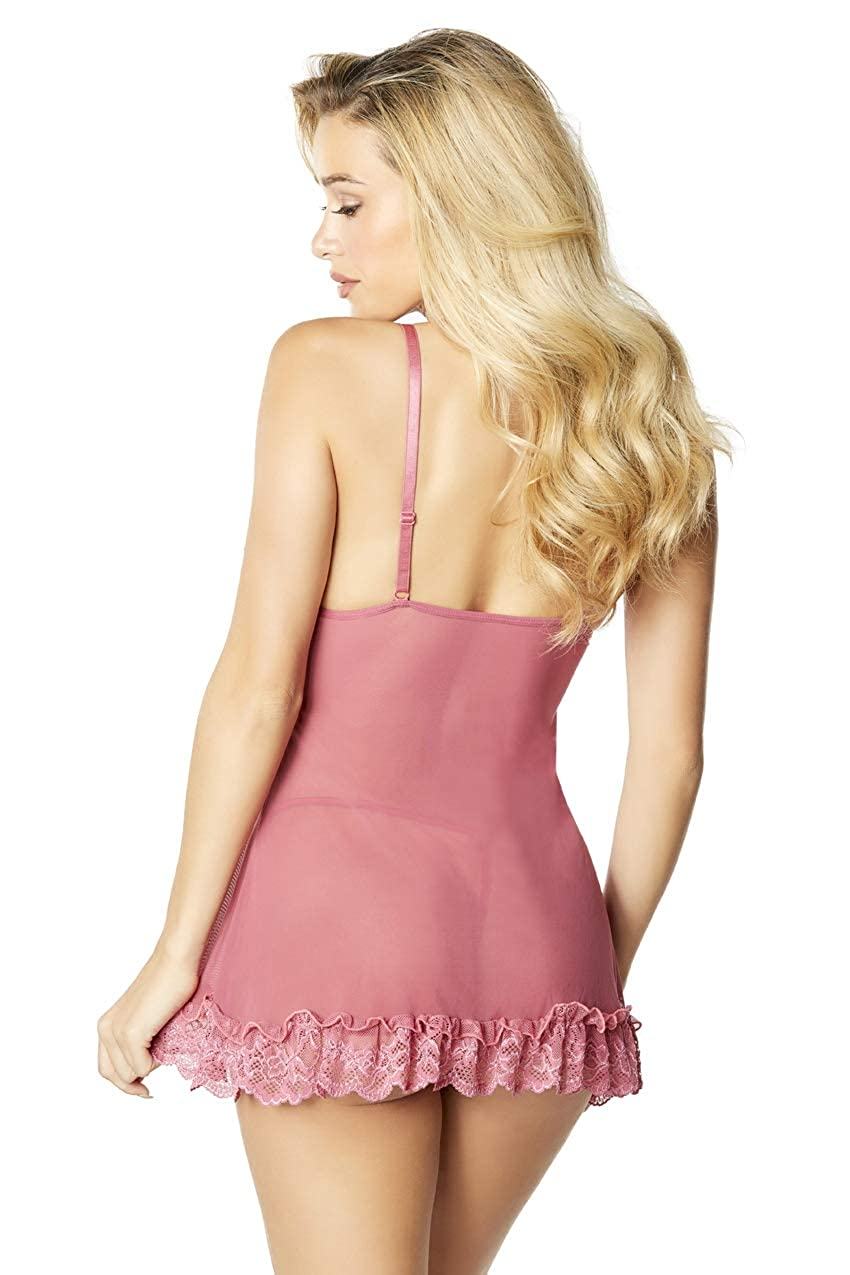 57940b0b4e2 Amazon.com  Oh la la Cheri Women s Soft Cup Lacey Babydoll with Bows and  G-String  Adult Exotic Chemises  Clothing