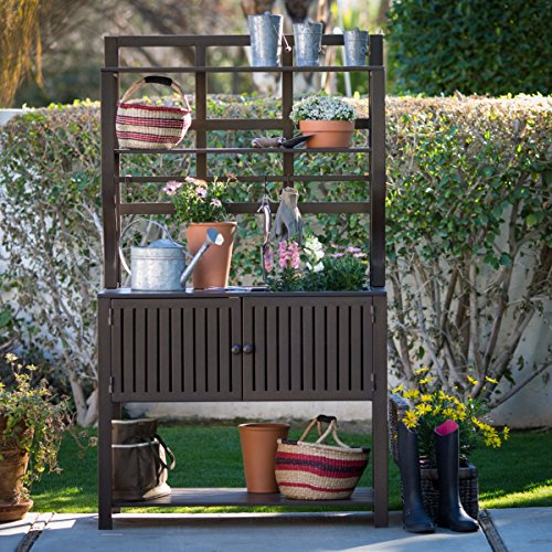Contemporary Style, Modern Metal Chestnut Brown Finish Outdoor Potting Bench 42''W x 23''D x 72''H With Storage and 2 Slatted Shelves, 7 Hooks for Hanging Gardening Tools by Belham Living (Image #4)