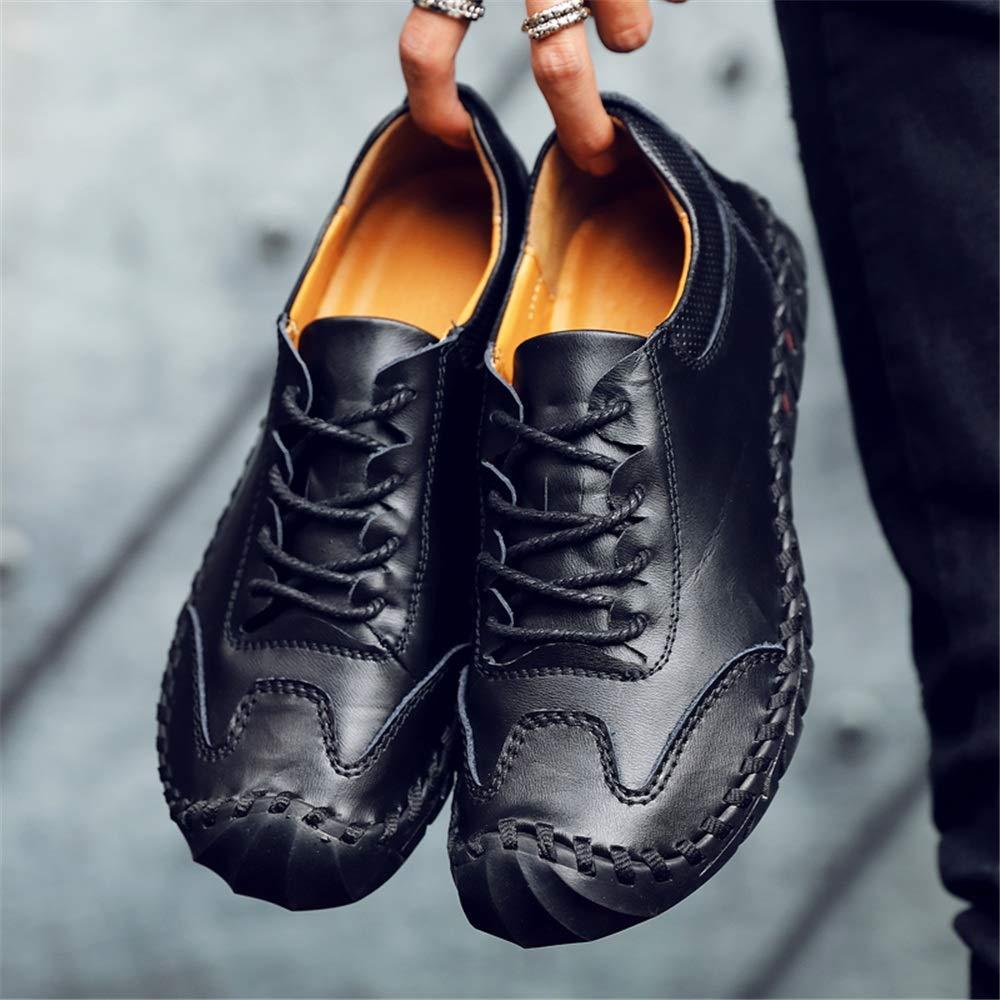 Color : Braun, Gr/ö/ße : 38 EU Mingnian-shoes 2019 Herren Mokassins M/ü/ßigg/änger Mens Echtes Leder Stitching Lace Up L/ässig F/ür M/änner Captoe Mokassins Hand Stitching Antislip Bootsschuhe