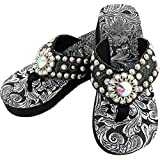 ebed60270bac8 Western Peak Women s Black Croc PU Leather AB Gemstone and Rhinestone Flip  Flop Sandals (9
