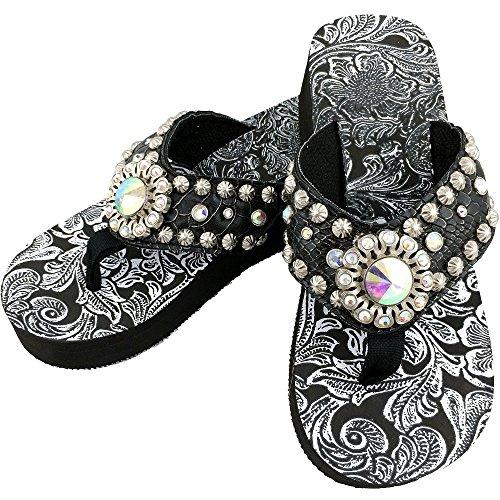Zebra Flip Flop Sandals - Western Peak Women's Black Croc PU Leather AB Gemstone and Rhinestone Flip Flop Sandals (9)