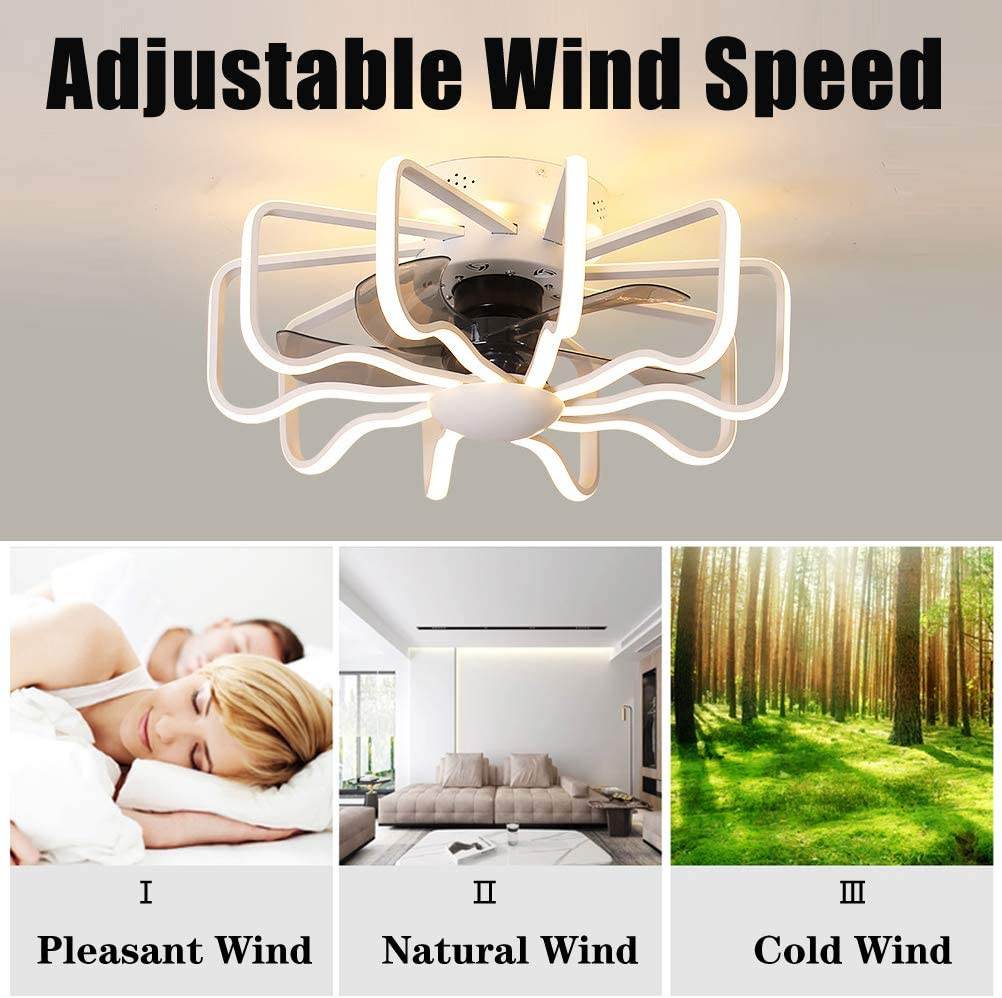 GUSICA Quiet Ceiling Fan with Lighting, 112W LED Ceiling Light Dimmable with Remote Control, 3 Speed, Modern Creative Living Room Bedroom Fan Lamp, Ø 58cm,Gold White