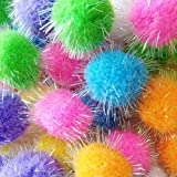"TECH-P Glitter Pom Pom Balls Sparkle Balls My Cat s All Time Favorite Toy Ball Tinsel Pom Poms Christmas Party Decorations - Assorted Color -45mm,1.8"" with Glitter- 100 Pack with 1 PCS Coaster"
